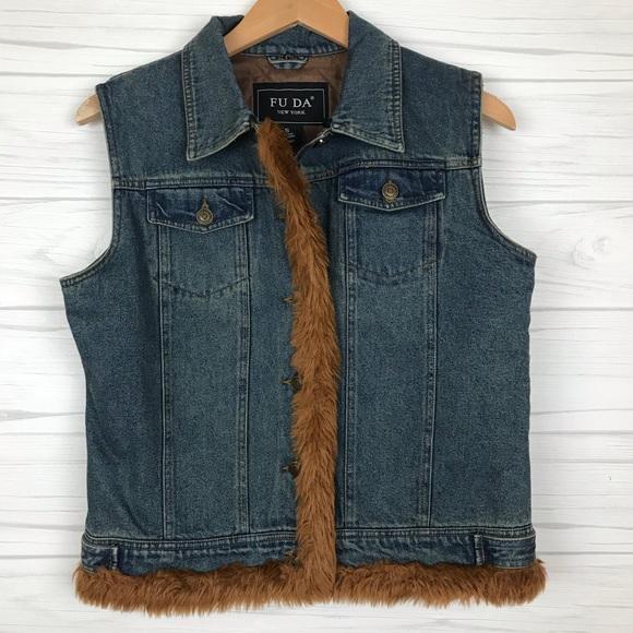 FU DA Jackets & Blazers - FU DA Faux Fur Trimmed Denim Vest